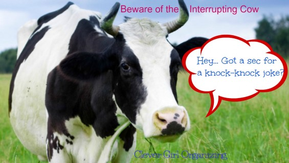 Time Management and The Interrupting Cow: Manage Interruptions In the Office or at Home