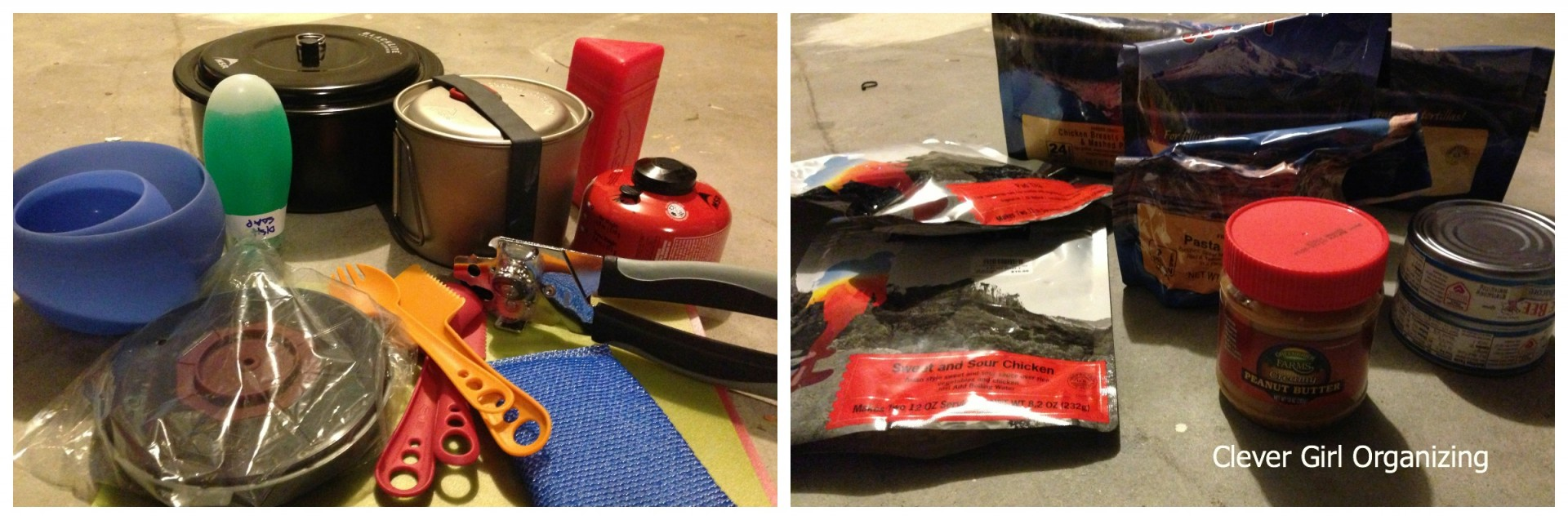 Camp Stove and Fuel, Can Opener, Cutting Surface, Cup/Bowl, Utensils,  Peanut Butter, Tuna, Rehydratable Meals.