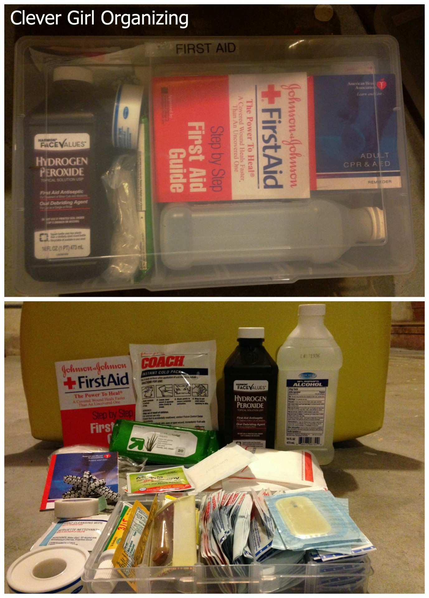 Bandages, Alcohol, Hydrogen Peroxide, Wipes, Tape, Antibiotic Cream, First Aid and CPR pamphlets, etc.