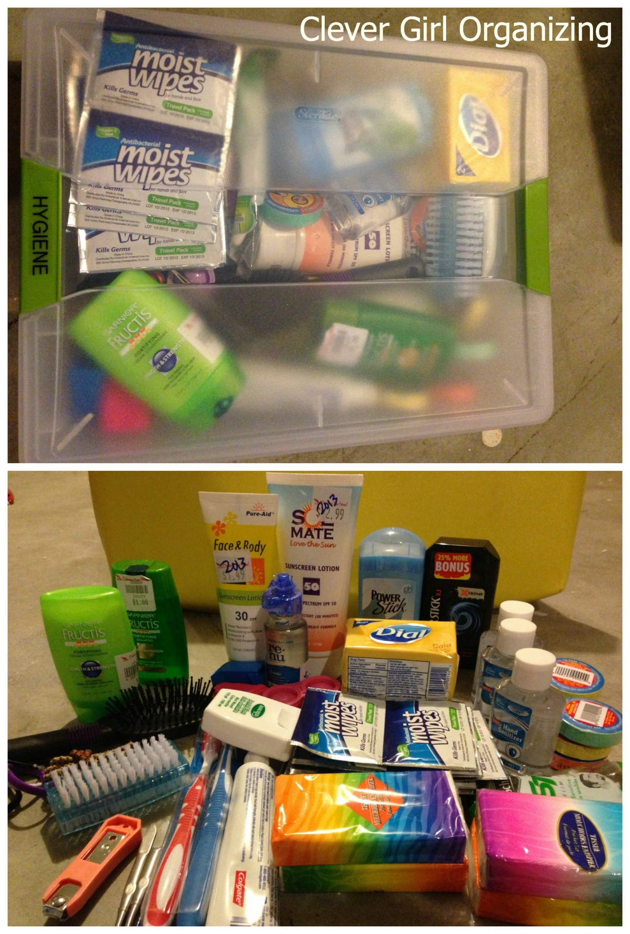 Toothbrush/paste, Contact Lens Case and Solution, Deodorant, Soap, Shampoo, Compact Towels, Antibacterial Gel, Wipes, Tissues, Sunscreen, Hairbrush, etc.