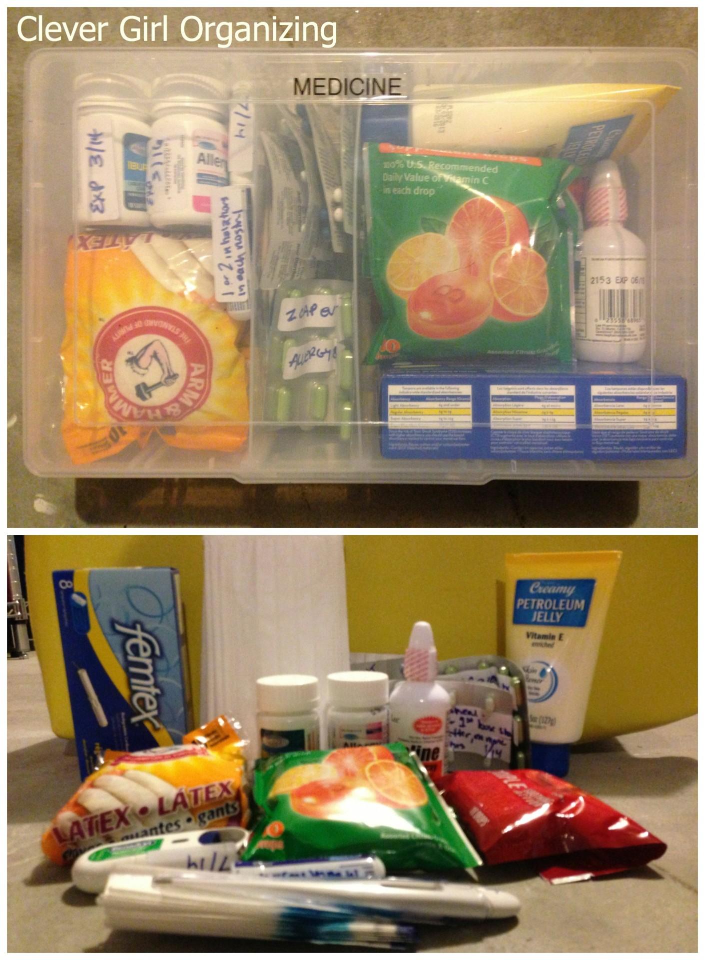 Cold/Cough, Allergy Medicine, Immodium, Petroleum Jelly, Lozenges, Saline spray, Thermometer, Latex Gloves, Dust Masks, Inhaler, etc.