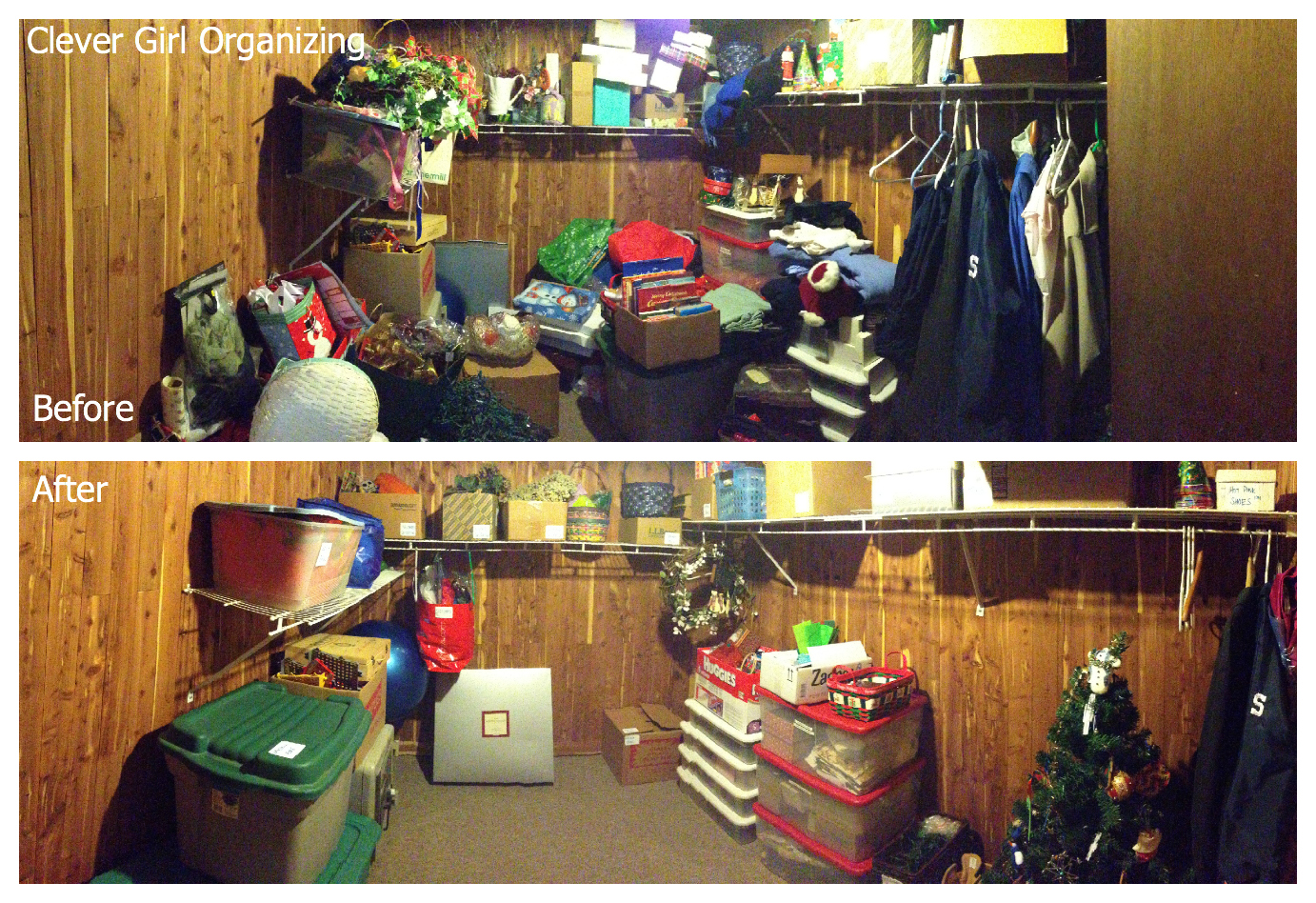 Cedar Closet Panorama Collage
