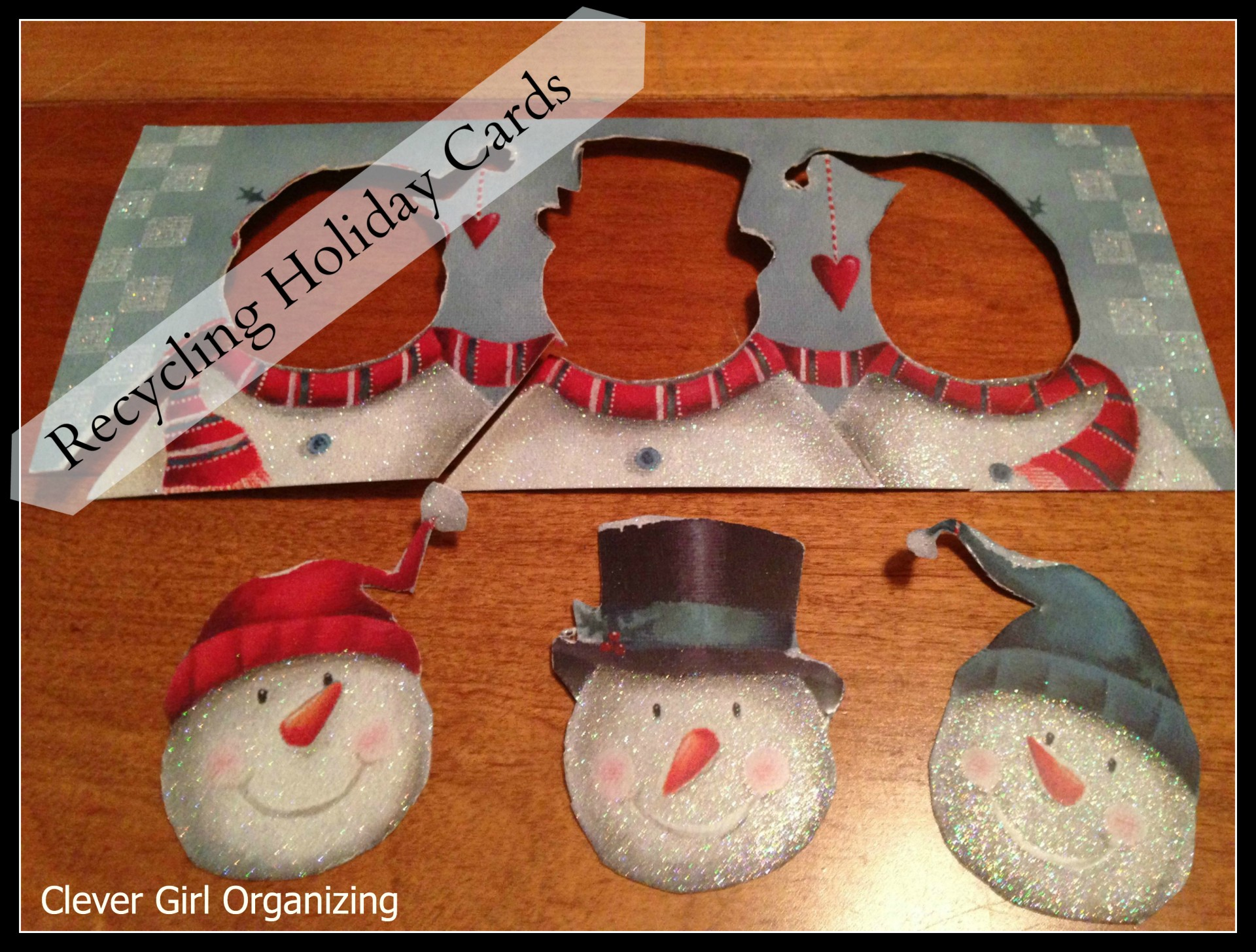 Snowmen gift tag, from a Christmas card