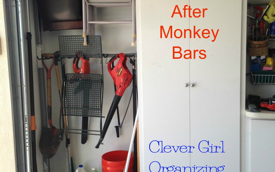 Before and After: Part 2: Age in Place, The Garage Mini-Makeover for Father's Day… Going Vertical with Monkey Bar Storage!
