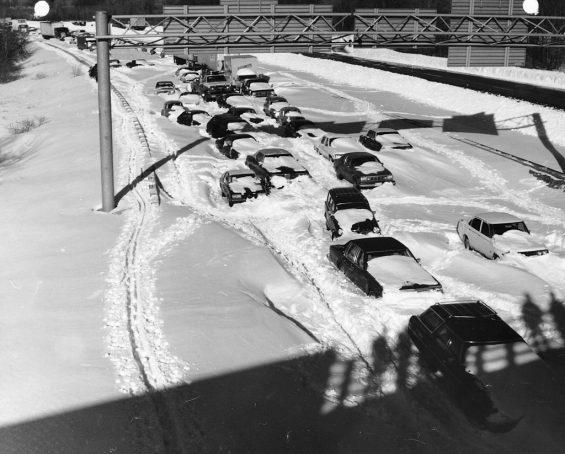 Blizzard of 1978 Cars on Rt 128 S Needham, Mass,  Jim McDevitt Photographer. U.S. Army Corps of Engineers