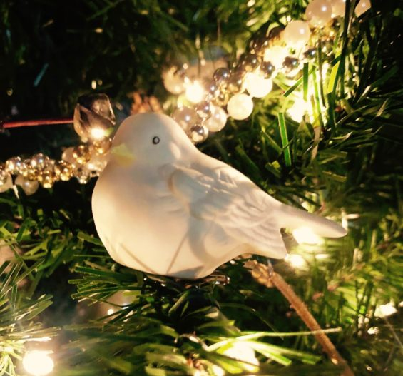 dove on christmas tree